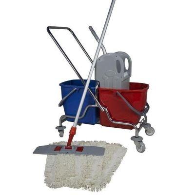 CleanSV® Wischset 50 cm Reinigungswagen chrom , Mopp Set 50 cm: 3 Baumwollmop / Wischmop, Mophalter, Telesko   00-000037.1 / EAN:4251228375333