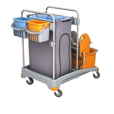 Putzwagen Reinigungswagen-Set Kunststoff, Müllsackhalter, 2 Eimern und Mopppresse, 2 kleine Eimer | 116-TSS-0006 / EAN:0738613496858