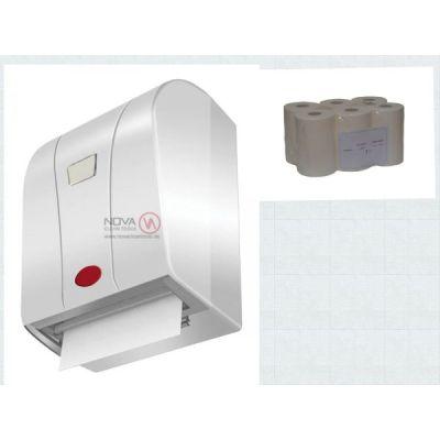 Rollenpapier Handtuchspender mit Sensor weis mit Rollenpapier 6 Rll. a. 100 m, 2 lagig Zellstoff hoc | 00-000054.1 / EAN:0738613494830