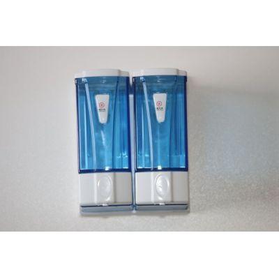 Seifenspender Wall DOPPEL mini für 2x250 ml blau transparent, aus Kunststoff für flüssig Seife | 114-3564-BLAU / EAN:0736846046857