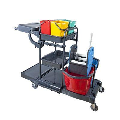 Servicewagen CleanSV PE Reinigungswagen Kunststoff, Putzwagen komplett ausgestattet, 4 x 6 Liter Eimer und 2 x | 11-005535 / EAN:0736846045171