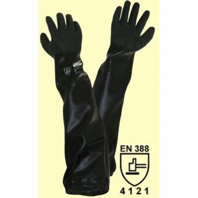 Teichpflegehandschuhe / Sandstrahlhandschuhe aus schwarzem PVC Größe M | 05-114850-M / EAN:0738613495837