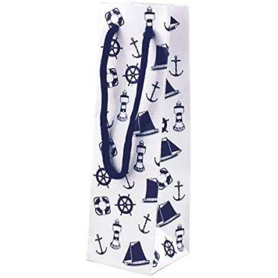 10 Stück- Edle Glanz- Geschenktaschen- Flaschenbeutel- lackiert- marine/weiß   3094628829