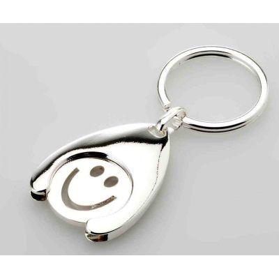 **2X Schlüsselring Happy, Smiley mit Einkaufchip- versilbert | 1395304755