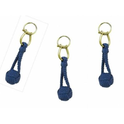 **3X Schlüsselanhänger- Zierknoten, Wurfknoten mit Schäkel/Schlüsselring- Baumwolle, Messing | 1591819050