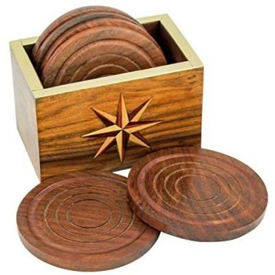 6 Untersetzer mit Aufbewahrungsbehälter- Holz/Messing- rechteckig | 3096824544