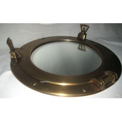 **Antik Messing- Bullaugenspiegel - 28,5 cm- anlaufgeschützt- KEIN polieren nötig | 819328111