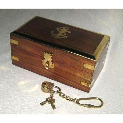 **Edle Holzbox- Anker- Messingscharniere+ Schloss mit 2 Schlüsseln an Kette- 18 cm | 1188794986