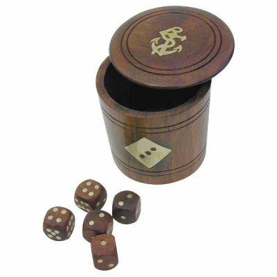**Edler Würfel- Becher mit 5 Würfeln aus Holz und Messingintarsien- maritim Anker | 819316176