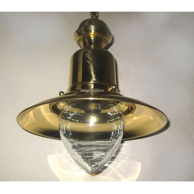 **Elegante Messing- Schiffslampe - Schiffsleuchte - Hängelampe H 43 cm | 921392571