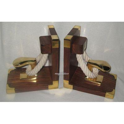 *Exclusive Buchstützen aus Holz/Messing mit Poller und Tauwerk - massiv- 1900g | 819313876