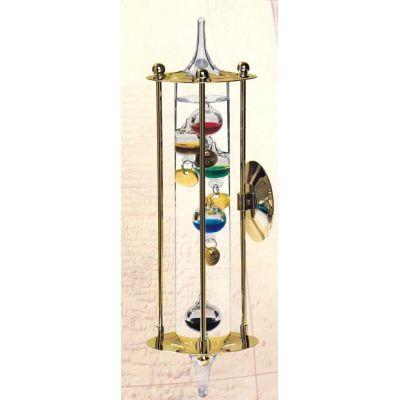**Galileo Thermometer mit Metallgehäuse- vergoldet - Made Germany- mit Wandhalterung | 1140225141