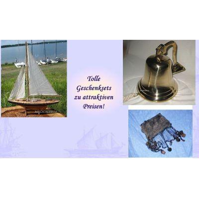 **Geschenkeset bestehend aus Segelyacht, Große Schiffsglocke+ Fischernetz braun | 1087184330
