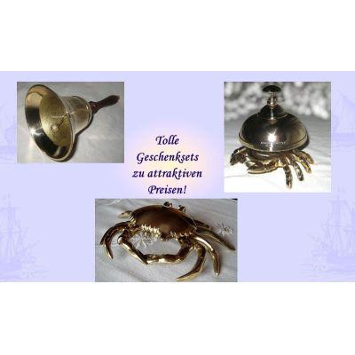 **Geschenkeset- Große Handglocke, Tresenglocke und Aschenbecher in Krabbenform- Messing | 1083834675