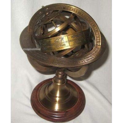 **Globus-Armillarsphäre aus Alt-Messing auf Holzsockel- 21,5 cm, 14 cm- sehr EDEL   818415871