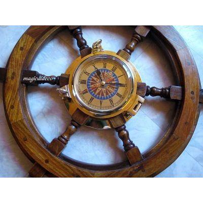 **Großes Steuerrad mit Schiffsuhr- Windrose- sehr masssiv und schwer- 60 cm | 1066702860