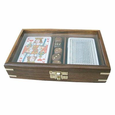 **Karten/Würfelbox mit Glasdeckel - Holz+ Messingintarsien incl.Kartenspiel+Würfel   819316306