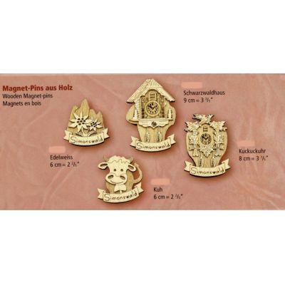 Magnet Pins aus Holz 4 Stück- Original Schwarzwald 6-9 cm   1196312031