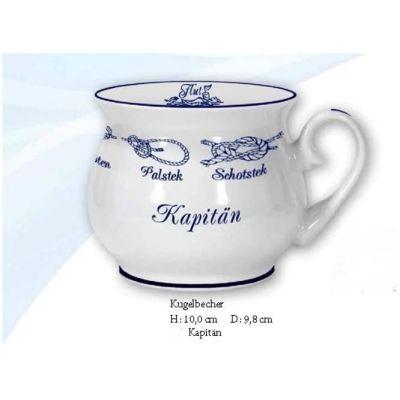 Maritim Porzellan- Tasse, Kaffeepott, Kugelbecher- Kapitän- Innendruck Ebbe und Flut   3117327659