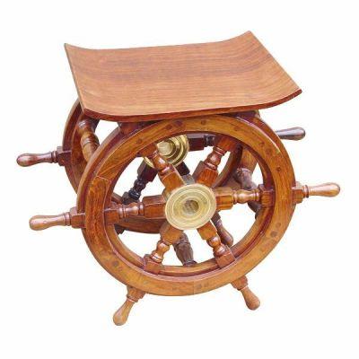 **Maritimer Hocker- Beistelltisch der besonderen Art- Holz und Messing   819327226