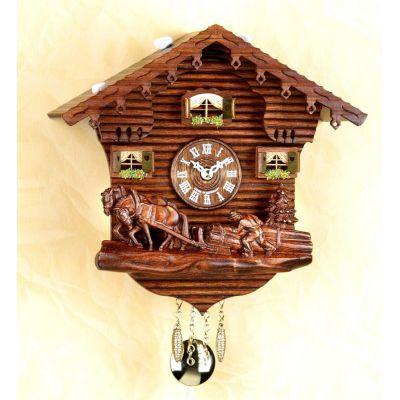 Original Schwarzwald-Pferde und Bauer- Kuckucksuhr mit Nachtabs - Cuckoo Clocks- Schwarzwald   1216137551