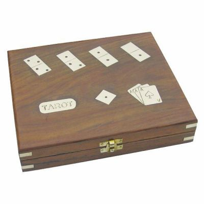 **Tarot- Kartenspiel+ Romme, Würfel & Domino in Holzbox mit Messingintarsien - sehr edel   911090901