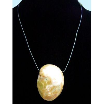 Abalone Collier mit polierter Muschelscheibe | 152-OCJ-ABS
