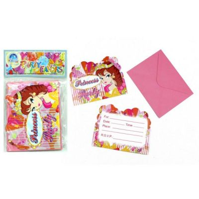 12 Einladungskarten - Prinzessin - mit passendem Briefumschlag | HM43696 / EAN:5413247083098