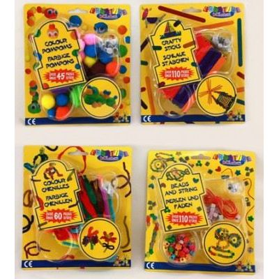 Bastelset - Pompons - Pfeiffenputzer - Perlen - Eisstiele - für Kinder | HM43916(35) / EAN:8711252757728