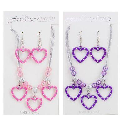 Schmuckset - Kette und Ohrringe mit Herzen - rosa oder lila   HM42678 / EAN:5413247053046
