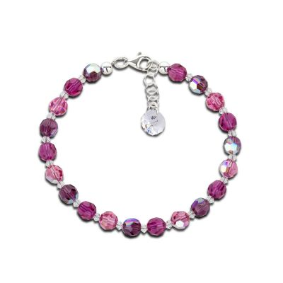 17,5cm + 2cm Verlängerung - Armband fuchsia pink lila aus 6mm Swarovski® Kristallperlen | S-K-A06_Am-Fu-Pa / EAN:4250887406341