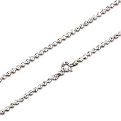 2,5mm Glitzer Halskette, diamantierte Kugelkette aus 925 Silber Rhodium 45 oder 80 cm Länge | BaD2,5RH / EAN:4250887405689