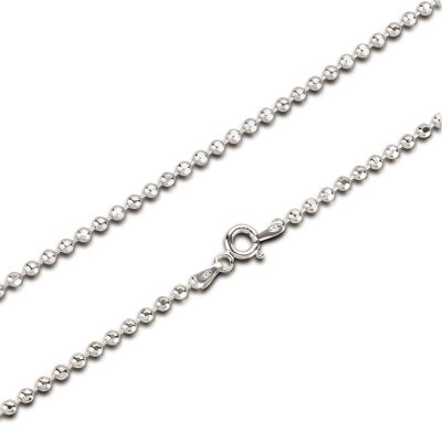 2,5mm Glitzer Halskette diamantierte Kugeln 925 Silber Rhodium | BaD25RH_45cm / EAN:4250887405689