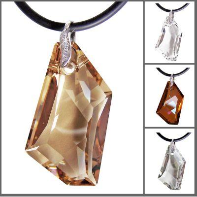 45cm großer Anhänger mit De-Art Kristall von Swarovski® mit Kautschukband, 925 Silber Rhodium | Fi21-PD45_Ka / EAN:4250887401186