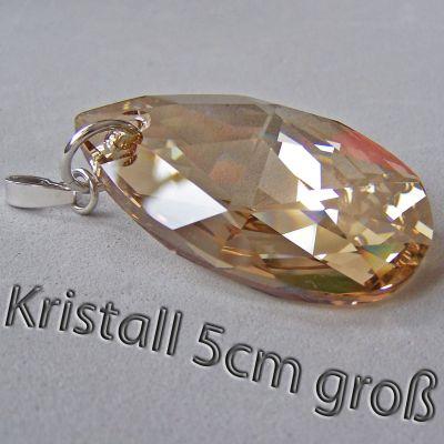 5cm großer Swarovski® Kristall Schmuckanhänger Tropfen in 3 Farben, Silberöse   PD-AN 61