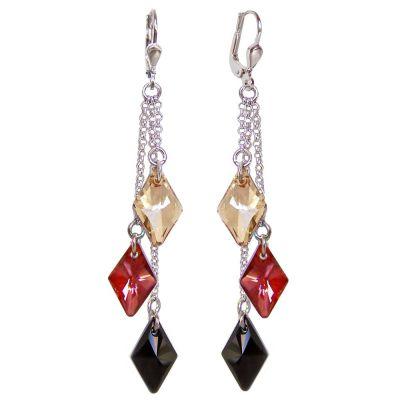 72mm lange Ohrringe aus 925 Silber Rhodium und Swarovski® Kristall, Ohrhänger 3-farbig   PS-OH91-3-GRJ / EAN:4250887403104