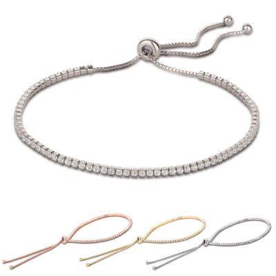 925 Silber Armband mit Schiebeverschluss rundherum mit Zirkonia besetzt | WoJ-AB01 / EAN:4250887406495