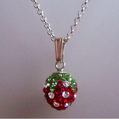 925 Silber Halskette mit Anhänger Glitzer Erdbeere   HK-Erd10