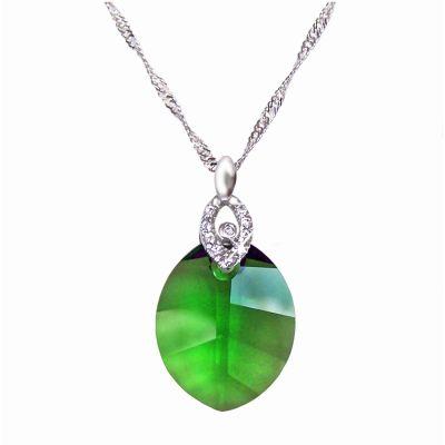 925 Silber Halskette mit Pure Leaf Kristall von Swarovski® in Fern Green, grün | Fi15-PD28-FGr-Sng2 / EAN:4250887401513