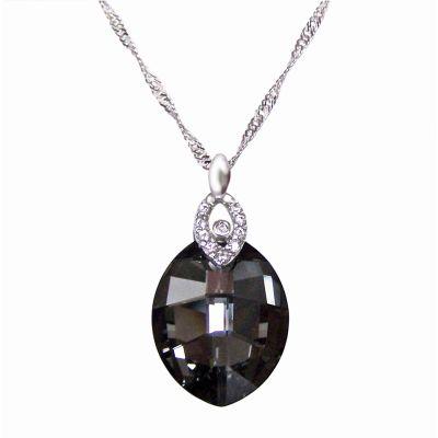 925 Silber Halskette mit Swarovski® Kristall Leaf in Silver Night, gau, anthrazit | Fi15-PD28-SN-Sng2 / EAN:4250887401537