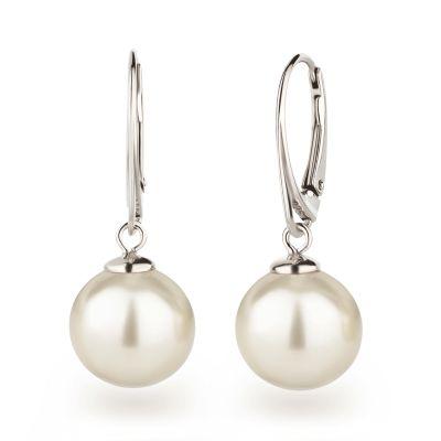 925 Silber Ohrringe mit großen runden Perlen Farbwahl | Sx10-OH-Ku12 / EAN:4250887408529