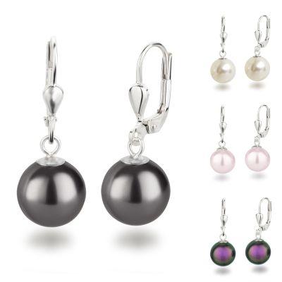 925 Silber Ohrringe mit synth. Perle 10mm rund, Ohrhänger Farbwahl | OH-Ku10 / EAN:4250887406068