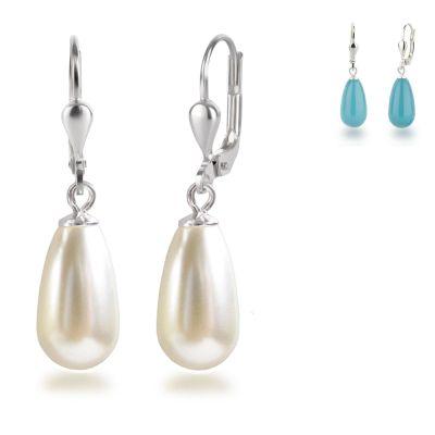 925 Silber Ohrringe mit synth. Perlen in Tropfenform, Ohrhänger Farbwahl | OH-Ri01 / EAN:4250887400356
