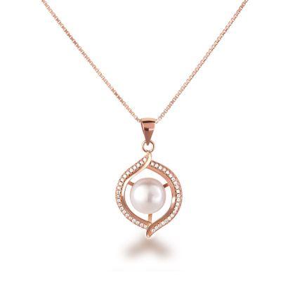 925 Silber rosegold Halskette besetzt mit Süßwasserperle und vielen Zirkonia | Fi-P114rg-SWP09-w_VZ / EAN:4250887405139
