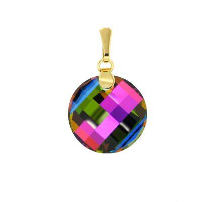 Anhänger mit Swarovski® Kristall Twist 18mm bunt, vergoldet Gold-Doublé, Farbe: Vitrail Medium | PD-AN68db-VM / EAN:4250887401872