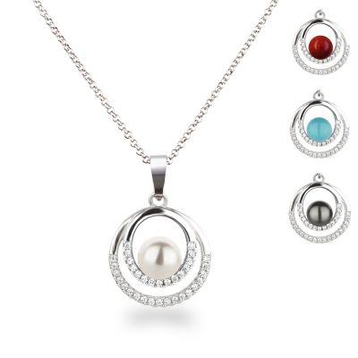 Anhänger rund Kringel mit Perle Halskette 925 Silber Rhodium   Fi40-Ku06 / EAN:4250887408635