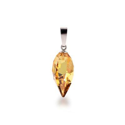 Anhänger Twisted Drop metallic-sunshine gelber Swarovski® Kristall 925 Silber Rhodium | PK-AN02-Msun / EAN:4250887406426