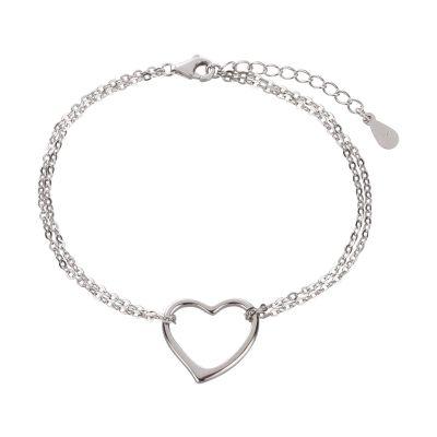 Armband 925 Silber Rhodium mit Herz Symbol Länge variabel | Ca-AB15 / EAN:4250887406525
