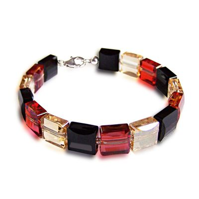 Armband aus Swarovski® Kristall Stairway Bead in schwarz, golden shadow, red magma, 925 Silber | S-Fo-A41Jet-RM-GS / EAN:4250887401933