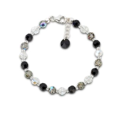 Armband schwarz grau crystal aus 6mm Swarovski® Kristallperlen | S-K-A06_Je-Bd-Mo / EAN:4250887407270